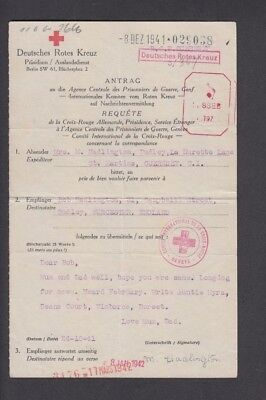 Guernsey 1942 Ww2 Red Cross Message Form
