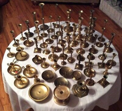 Huge Lot Of 64 Brass Candlesticks Holders Wedding Home Decor Patina Candle Vtg