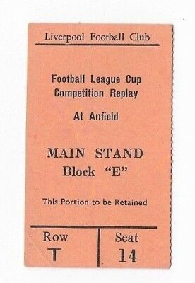 RARE Liverpool v Mansfield Town ticket: League Cup 2nd round replay: 1970-1971