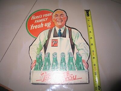 Vintage 7-Up soda 1945 Cardboard Sign Standee HERE'S YOUR FAMILY Fresh Up 7-Up!
