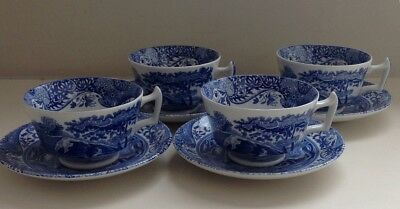 Spoode blue Italian tea cups and saucers x 4