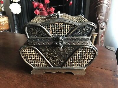 Large Asian Straw / Wicker And Wood Casket Antique
