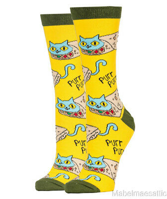 New Yellow Purr Purrito Kitty Cat Kitten Hipster Women's Fashion Socks MIP
