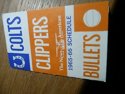 1965-1966 Baltimore Colt's, Clippers & Bullets pocket schedule