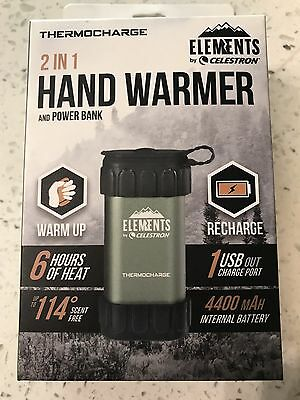 New Celestron Elements Thermocharge Rechargeable 2-In-1 Hand Warmer #48012