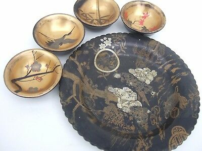 Vintage Japanese Lacquer Sake Cups & Plate Hand Painted Small Dipping Bowls
