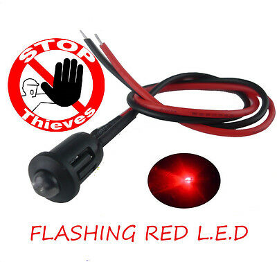 Classic car Caravan Boat Alarm Dummy 12V Bright Flashing Red  LED 12 volts NEW