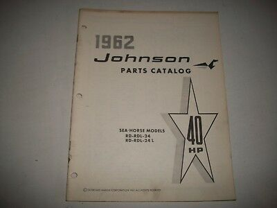 1962 Johnson Rd Rdl 24 & 24L Sea-Horse 40 Hp Outboard Parts List Catalog