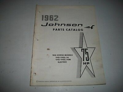 1962 Johnson V4S V4Sl 14 14M Electric Sea-Horse 75 Hp Outboard Parts List