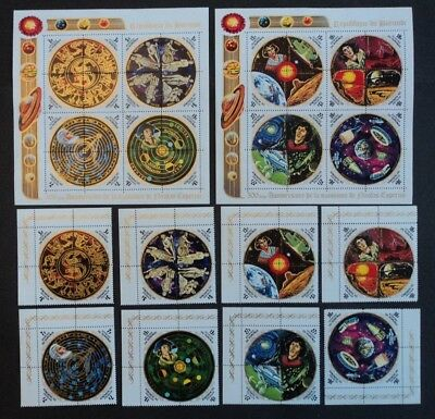 Set of 8 x 4 stamps & 2 stamp sheets Burundi 1973 Copernicus