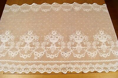 """VINTAGE WHITE LACE CAFE CURTAIN LENGTH 55"""" wide x 23"""" deep"""