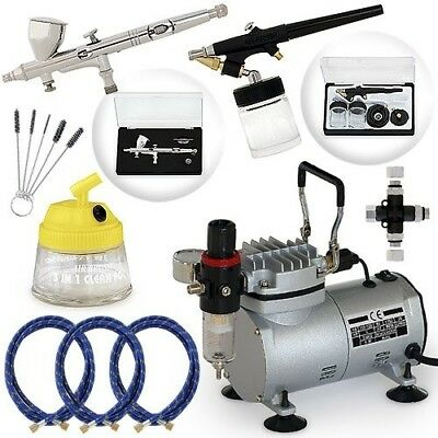 Pro Multi-purpose Two Airbrush Set - Piston Compressor Kit. PointZero Airbrush