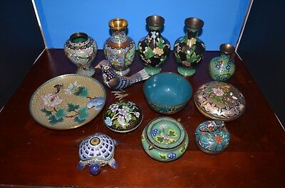a lot of Chinese Cloisonne vases, bowl 13 piecies with mark