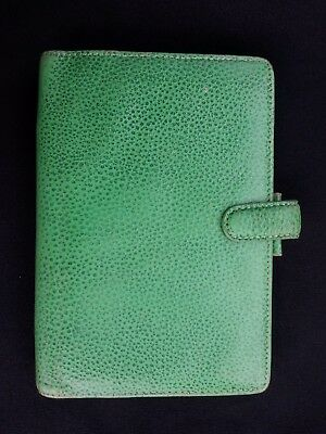 Vintage Filofax Finsbury Personal Green Leather Organiser - Free Uk P&p