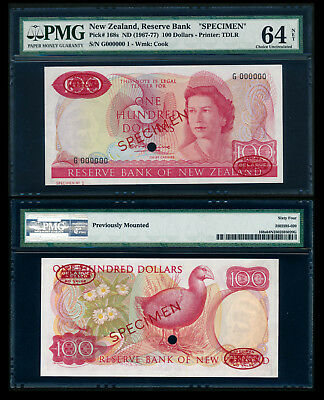 New Zealand $100 1967 QEII TDLR Specimen No. 1. G 000000 PMG 64 Choice UNC NET