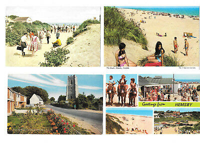 HEMSBY x 5 - OLD 1970's POSTCARDS - NORFOLK - 5 CARDS