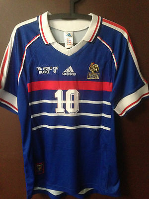 Maillot shirt France Coupe du Monde 98 1998 World cup no porté ZIDANE Brésil L