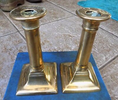 "PAIR ANTIQUE GEORGIAN BRASS CANDLESTICKS WITH PUSH UPS 6 1/4"" TALL c1820-30's"