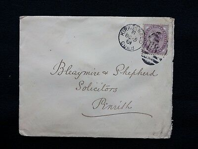 CUMBRIA - 1901 QV COVER KIRKOSWALD H86 DUPLEX ON 1d LILAC TO PENRITH THIMBLE