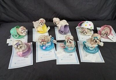 Shih Tzus With Personal-TeaCup Hamilton Collection SET OF 9. Complete