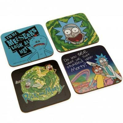 Rick And Morty Coaster Set Glass Fan Fun Gift Box New Official Licensed Product