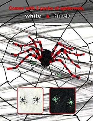 Giant Spider Halloween Decoration with 11 foot Web - Red 5 foot Spider with 2...