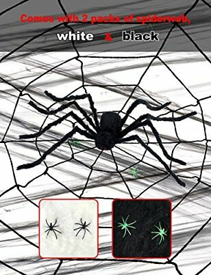 Giant Spider Halloween Decoration with 11 foot Web - Black 5 foot Spider With...