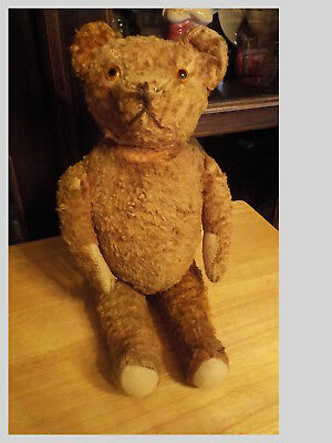 Antique Jointed Teddy Bear With Glass Eyes - Played With Condition