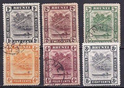 Brunei 1924 part set of 6 mint hinged and used