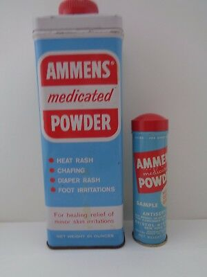 2 Ammens Medicated Powder Tins Round one is a Sample Tin