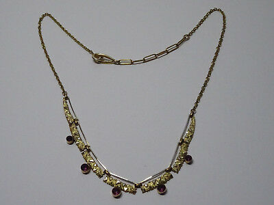Jugendstil Halskette Necklace Double Modeschmuck Kette Gold Collier Lila Nr.255