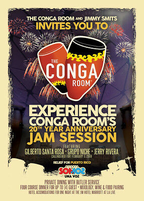 Party at Jimmy Smit's Conga Room w/ Private Dinner for 4 + JW Marriott Hotel