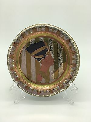 Vintage Egyptian pattern Tin Handpainted Gold Bronze Tone Wall Hanging plate
