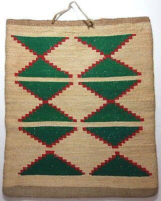 "SUPERB Antique NEZ PERCE Corn Husk Bag PLATEAU Native American Indian 15"" x 13"""