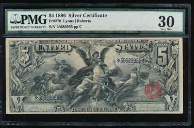AC Fr 270 1896 $5 Silver Certificate PMG 30... Educational!!!