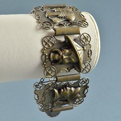 Vintage Bracelet 1950s Art Deco Style Oriental Egyptian Themed Bridal Jewellery