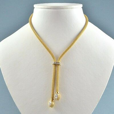 Vintage Necklace D'ORLAN 1970s Clear Crystal Goldtone Lariat Bridal Jewellery