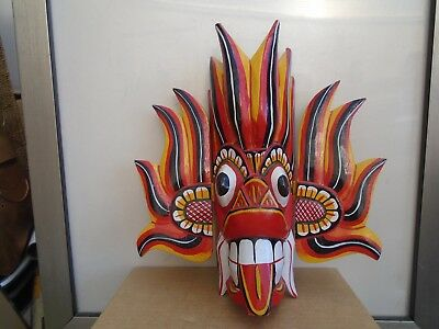 unusual carved wooden painted mask    chinese carnival dragon style mask  LOOK