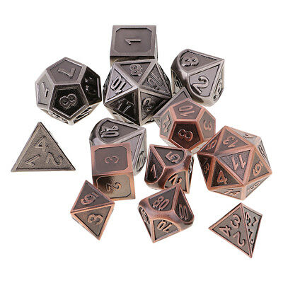 Pack of 7 Zinc Alloy Opaque Dices D4 D6 D10 D12 D20 Table Game Props 1.6cm