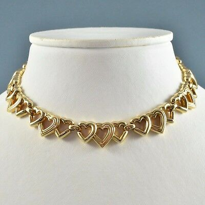 Vintage Necklace CROWN TRIFARI 1960s Goldtone Hearts Bridal Jewellery