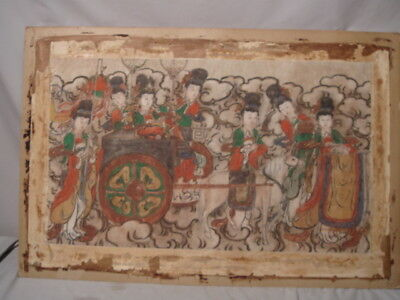 Old Chinese Painting on Paper Women w/ Horse Procession