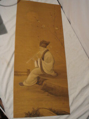 Old Chinese Tall Painting on Paper Old Man Plating Flute SIGNED
