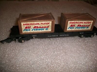 Gilbert/ American Flyer / Illinois Central RR #24577 Flat Car with Load /  Rare