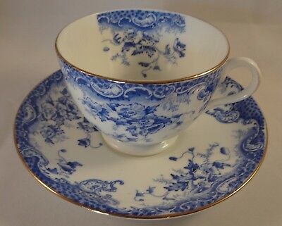 Antique Tuscan China Blue & White Gilded Floral Cup & Saucer Pattern 3901 c1920