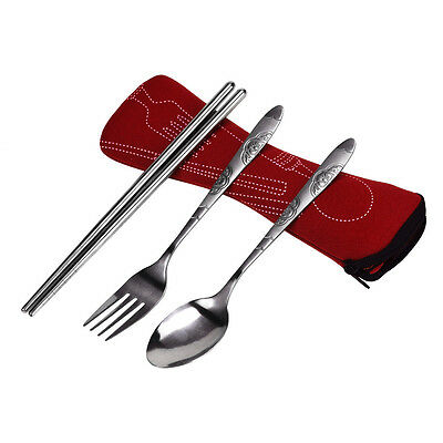 3 In 1/Set Stainless Steel Portable Camping Picnic Chopsticks Fork Spoon+Bag UK