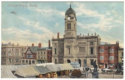 Market Place Derby early colour - postmark 1904 - Valentines