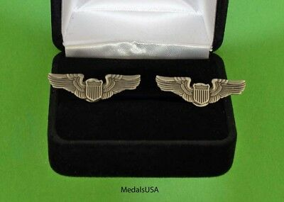 Pilot Wing Cuff Links in Presentation  Gift Box -  Air Force Cufflinks