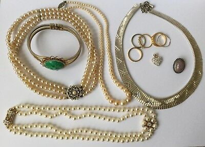 Collection Joblot of Quality Vintage Costume Jewellery Necklaces Rings Bracelet