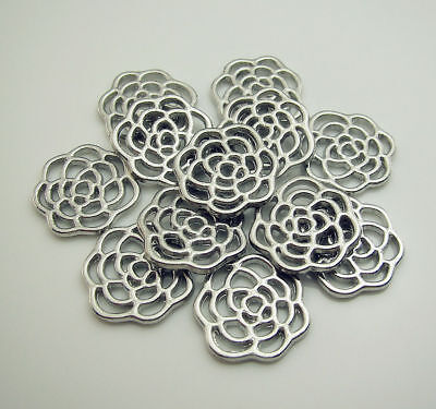 Free 20pcs Silver alloy Hollow Flower charm Loose spacer End beads Findings 16mm