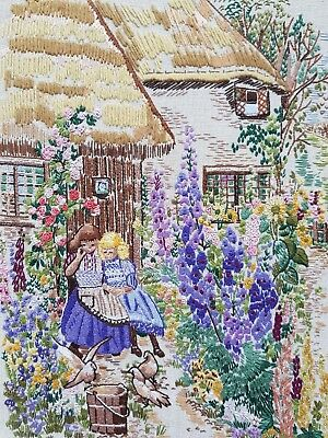 Vintage Hand Embroidered Panel/Picture with Crinoline Ladies in Cottage Garden